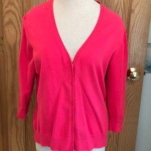 GAP stretch hot pink lightweight button sweater
